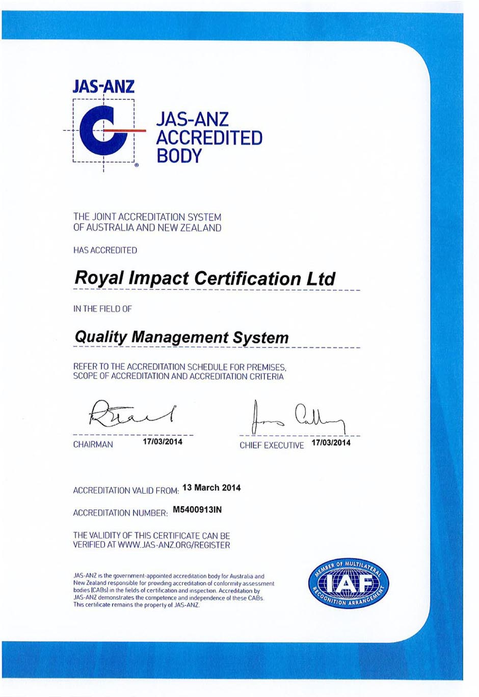 Royal Impact Certification Ltd., Facilitating Businesses for ...